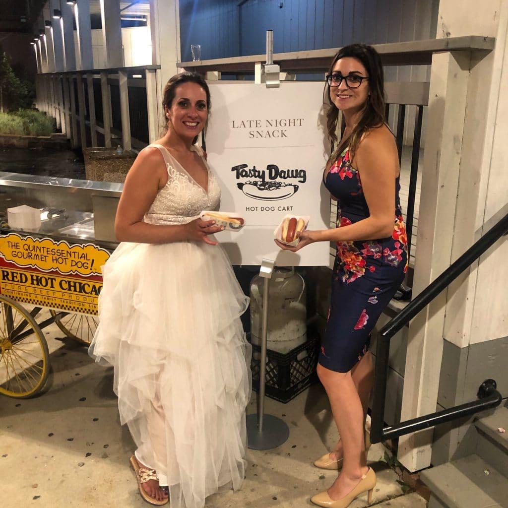Late Night Hot Dog Cart at Loft 21 Wedding