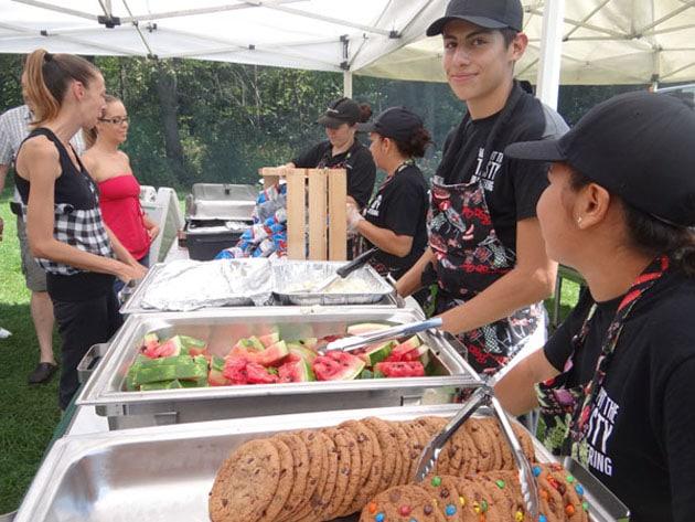 food service line and servers