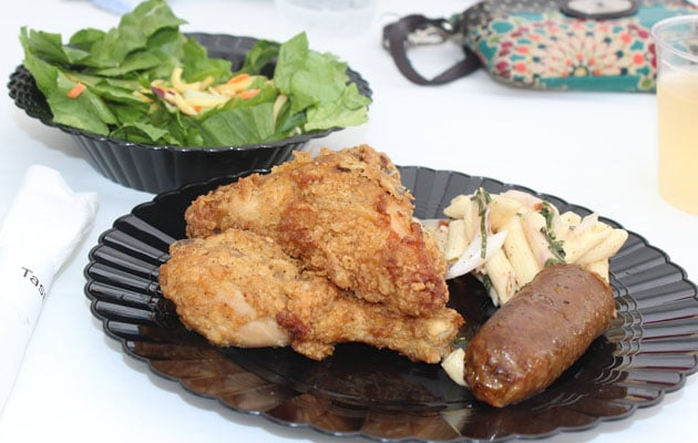 Graduation food including fried chicken and pasta salad