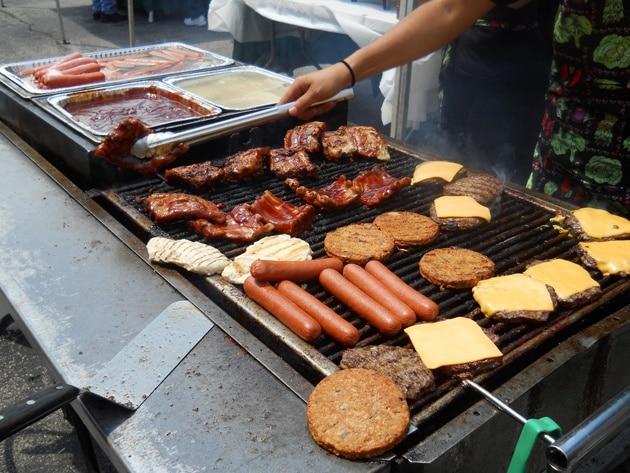 Picnic grill hot dogs hamburgers chicken ribs food
