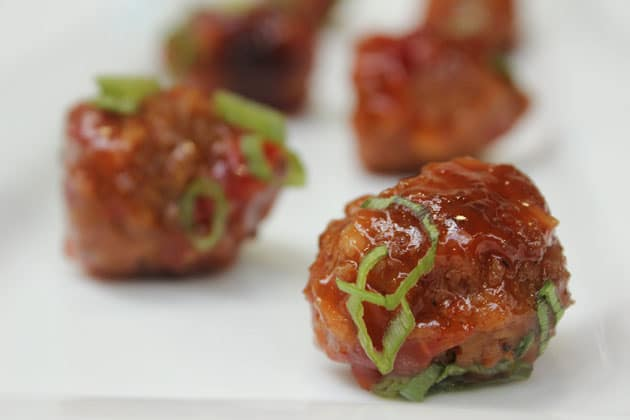 Sweet Chili Meatballs at holiday Party