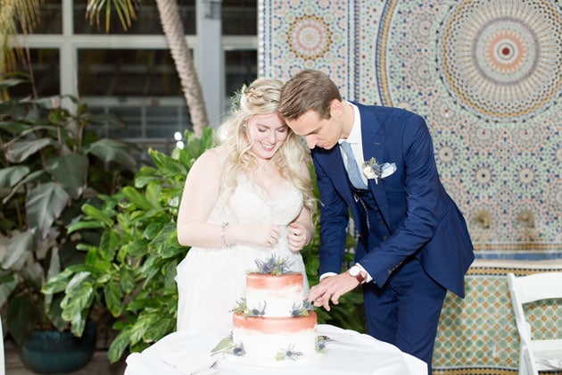 Bride and Groom Cut Wedding Cake from Bittersweet Pastry Shop