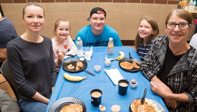 Kornel Grygo and Family at Fundraiser Pancakes for Parkinson's