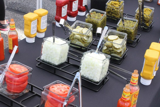 Toppings Bar at Creating Your Own Burger Station