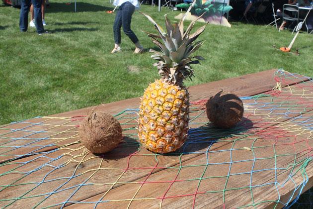 Hawaiian Themed Picnic Decor with Real Fruit