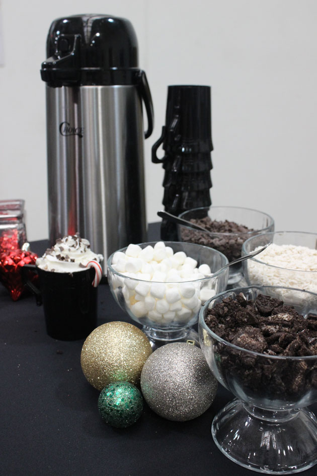White hot chocolate station holiday party dessert drink