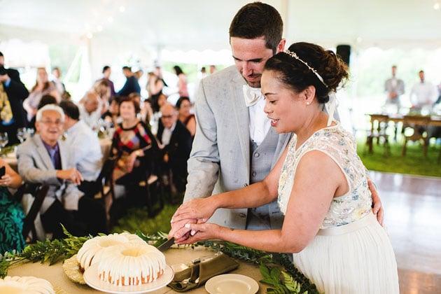 Bride and Groom Cut Wedding Bundt Cakes