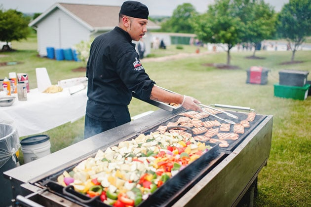 Chef Grilling Fresh Vegetables and Entree Wedding