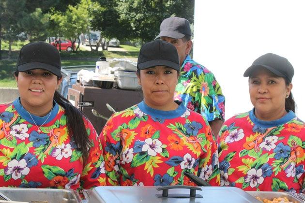 Servers with Hawaiian Themed Shirts