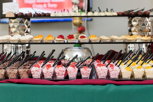 Large Dessert Display at Holiday Party