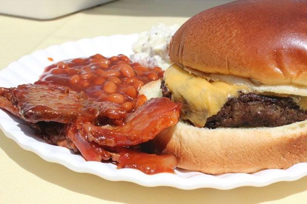 BBQ, Burger, Brisket, Beans, Outdoor Picnic