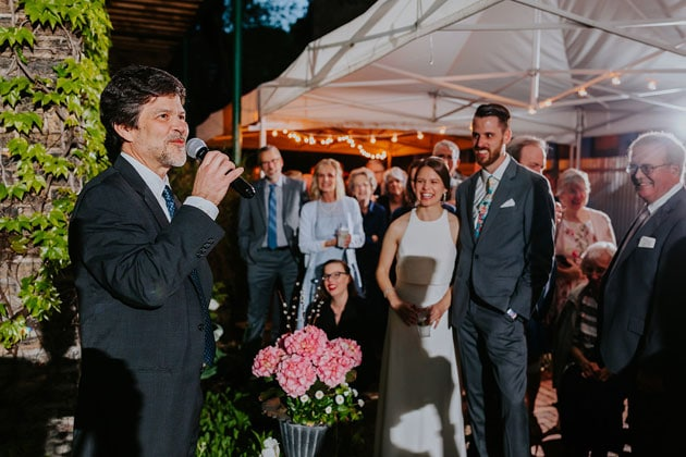 Speeches at Wedding at the Garden Cocktail Hour