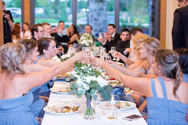 Guests Enjoy Dinner and Cocktails at Oak Brook Bath and Tennis Club Wedding