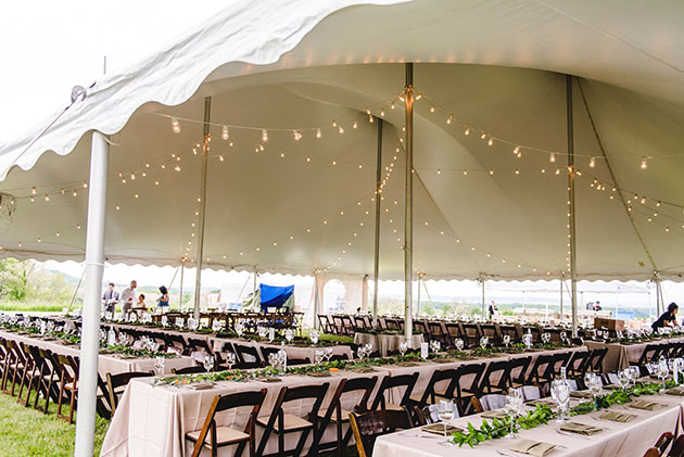 String Lights at Outdoor Tented Wedding