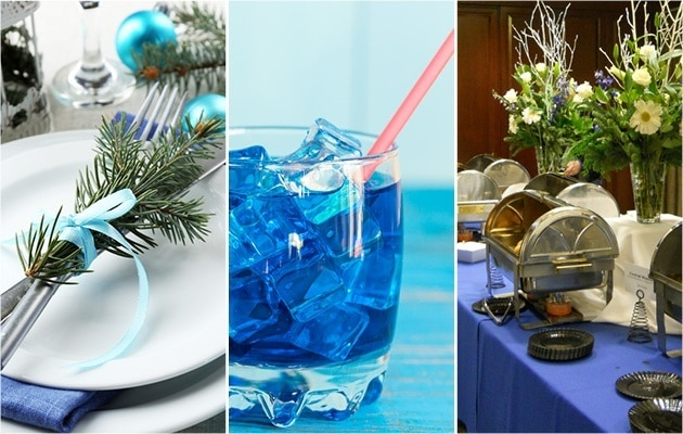 Collage showing decor for a blue Christmas themed party