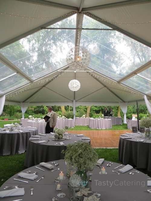 Clear roofed tent