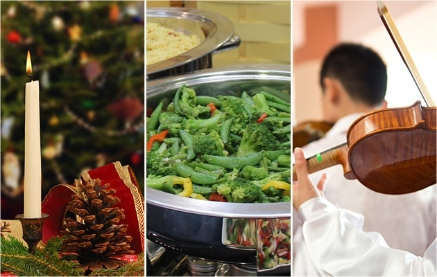 Photo collage of a pine cone and candle, vegetable medley in a chafer and a violin