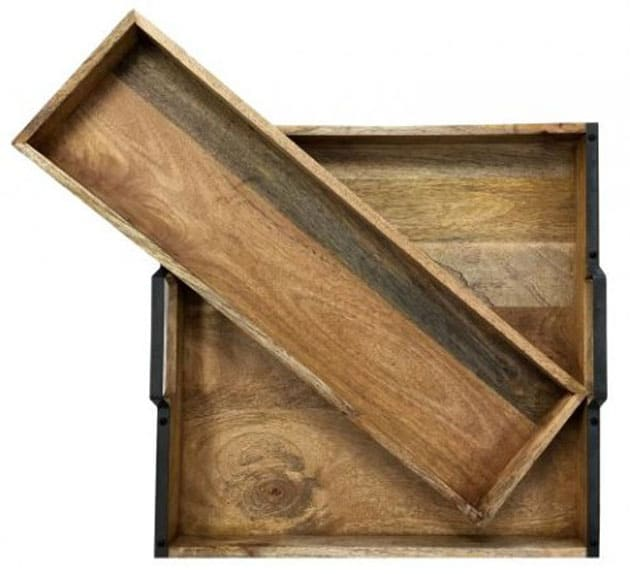 Vintage wood serving trays for holiday events.