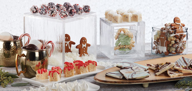 Trendy holiday party serving platters.