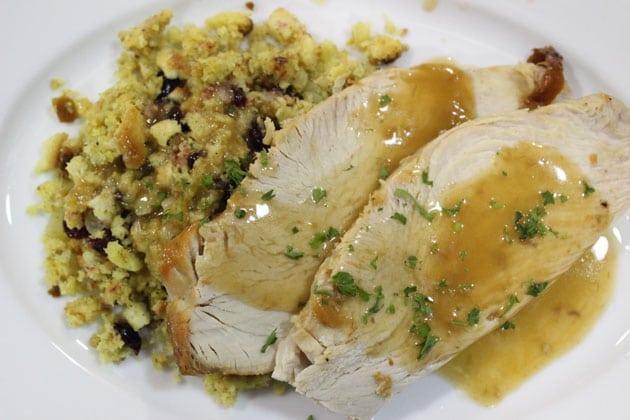 Roasted natural turkey holiday party menu