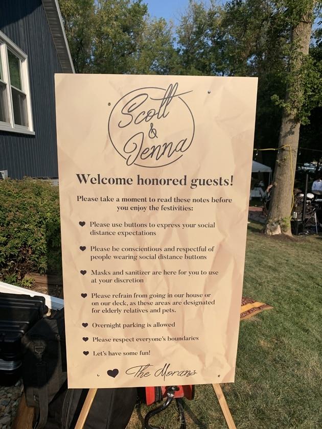 Signage at Backyard Wedding