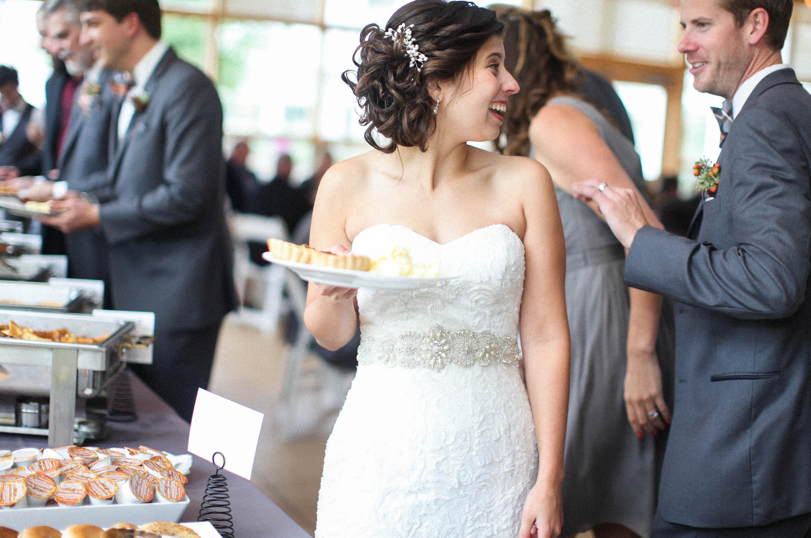 Bride in the Breakfast or Brunch Buffet Line
