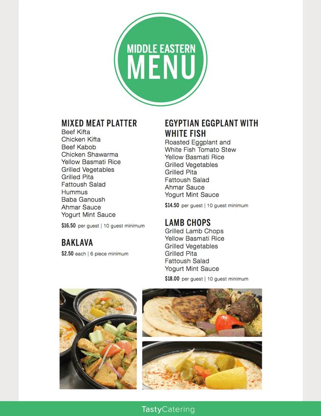 Middle Eastern Menu Tasty Catering