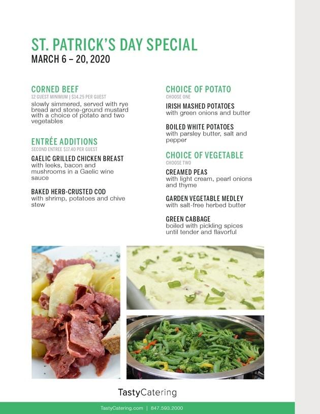 St. Patricks Day Menu 2020