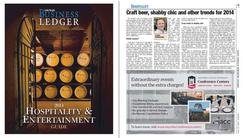 Tasty Catering featured in the Daily Herald Business Ledger 2014 Hospitality & Entertainment Guide