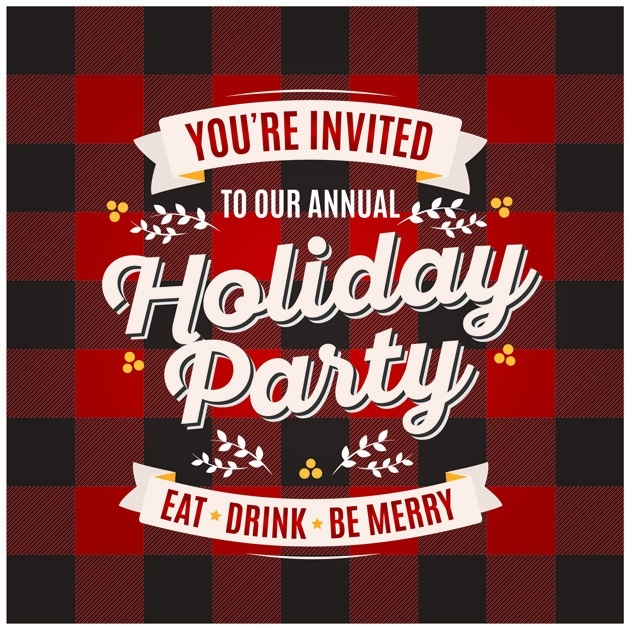 Holiday Party invitation with Flannel