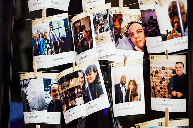Photos of Wedding Couples Displayed at Wedding