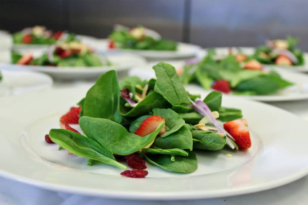 Spinach salad catering small plates