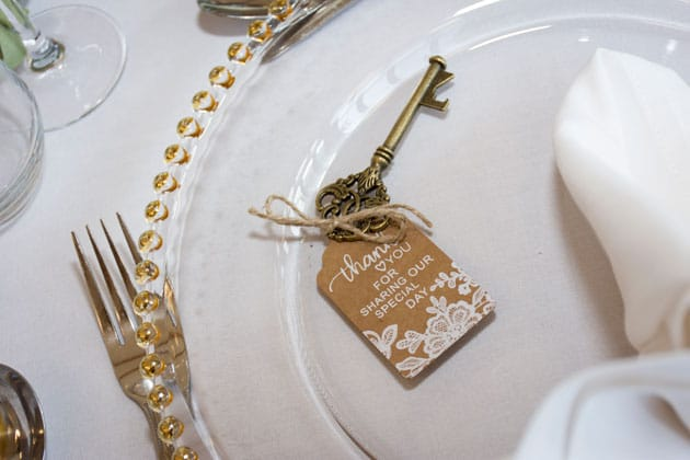 Vintage Key as a Wedding Favor for a Donation