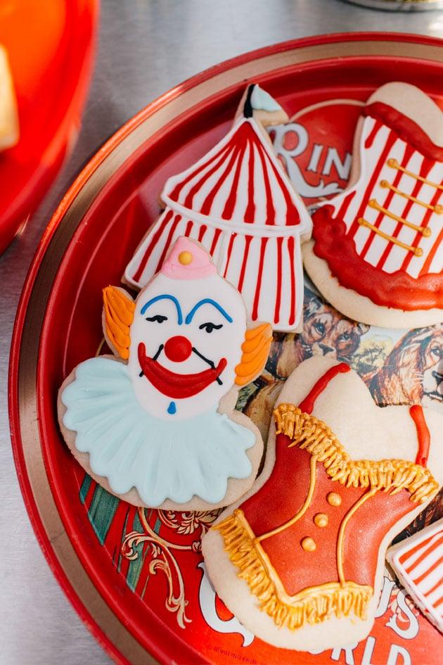 Circus themed iced sugar cookies