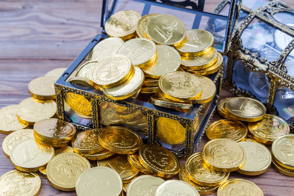 Chocolate gold coins in a treasure chest