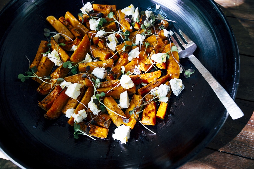 Sweet potatoes and other items on a plate