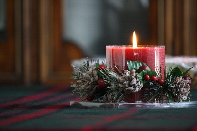 Flannel Candle Centerpiece with Snow Pinecones