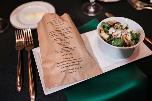 Plated Salad with Custom Bread Menu Design