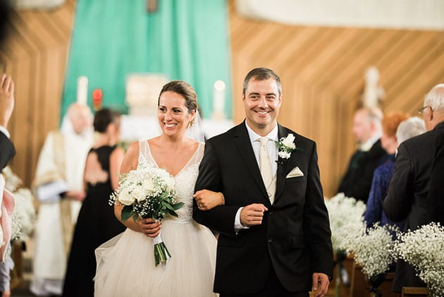 Bride and Groom After Wedding Ceremony at Queen of the Rosary in Elk Grove Village